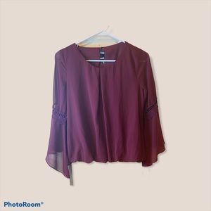 Iz Byer Red Blouse with Lace & Flowing Bell Sleeve